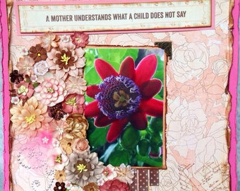 Mother's day premade scrapbook page, personalized photo, framed decor, flowers, feminine, unique {wild one}