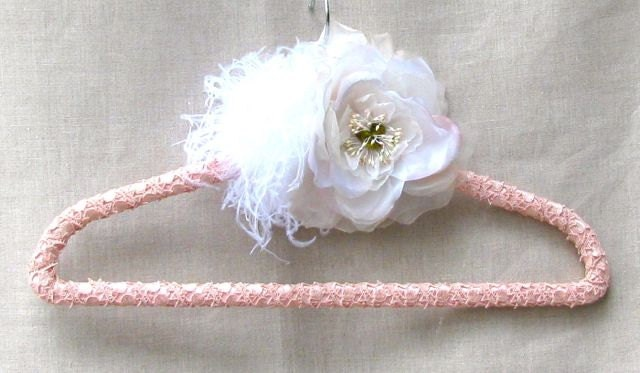 Wedding dress hanger,  pink, white, silk organza rose, feathers silk with lace trim, bride, bridesmaid, mother of the bride, custom