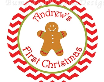 Christmas Iron on Transfer DIY - Baby's 1st Christmas Red Green Gingerbread Christmas Baby Girl Boy Iron On Custom Personalized Name -Andrew