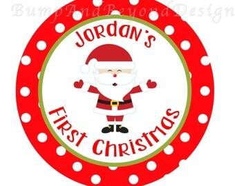 Christmas Iron on Transfer - Baby's First Christmas Red Green Christmas Santa Baby Boy Girl Iron On Personalized DIY Custom Name - Jordan