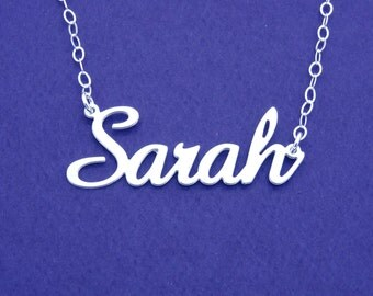 SAME DAY SHIPPING, Personalized Name Necklace 925 Sterling Silver Choose Any Name -  Sarah -  Font