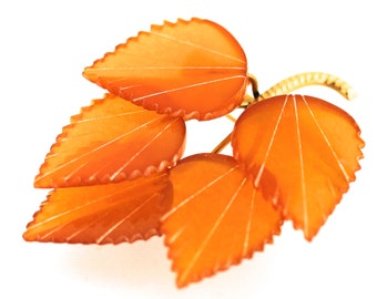 Amber Leaf Brooch