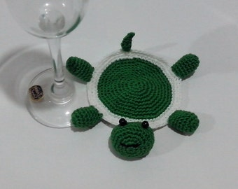 Crochet coasters Pattern  Amigurumi Crochet Coasters/ Turtle Green /Pattern 231/ Instant Download ( Permission to sell finished items)