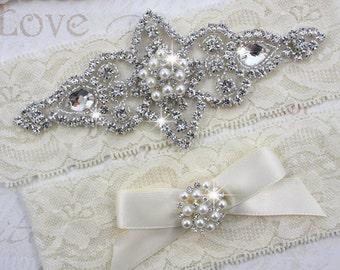 SALE- CHLOE II - Wedding Pearl Garter Set, Wedding Stretch Lace Garter, Rhinestone Crystal Bridal Garters