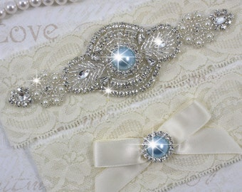 SALE - PRISCILLA - Light Blue Pearl Garter Set, Wedding Stretch Lace Garter, Rhinestone Crystal Bridal Garters, Something Blue