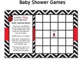 Chevron Ladybug Baby Shower Game Bingo in Red DIY PRINTABLE Digital File or Print (extra)
