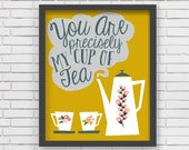 Yellow Home Decor Nursery Wall Art - Yellow Cup of Tea Art Print - 8x10 or 11x14