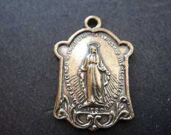 Solid bronze Vrgin Mary pendant, bronze Virgin Mary, Virgin Mary