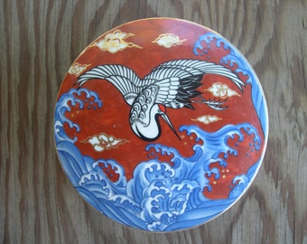 SALE --- Bird with Ocean Waves stunning Oriental Covered Porcelain Dish --- Reduced