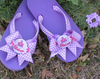 FLIP FLOPS for Girls, Children Sizes, For Girl, Princess Crown Embroidery, Ribbon Wrapped, Cute Bows, Personalized, Fun Birthday Gift, Flats