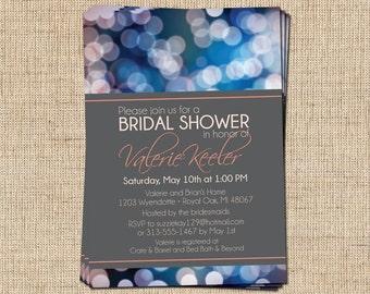 Bridal Shower Invitation (Bokeh Lights) Printable Bridal Shower Invitation
