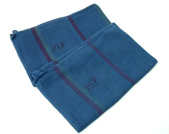 Set of 2 french vintage large monogrammed cotton kitchen towels hand dyed royal blue. Initials MP. Housewarming gift . Wedding. Upcycled