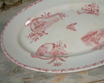 Antique french ironstone rose transferware large oval serving platter. Rose red transferware. French transferware