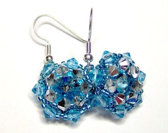 Aquamarine swarovski earrings, rivoli earrings, turquoise earrings, aquamarine earrings, crystal earrings, statement earrings