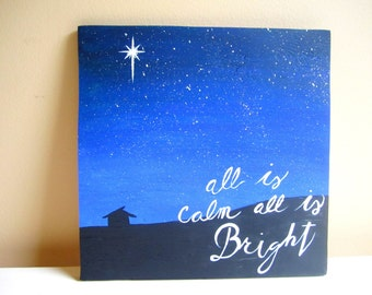 Jesus Christ Nativity scene decor Christmas mantle All is calm all is bright Silent night Holy night