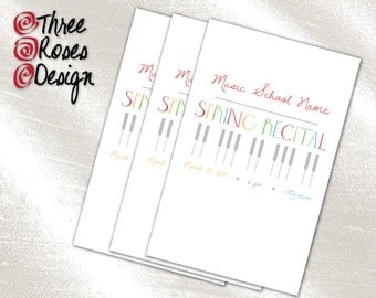 Print It Yourself - Piano Keys Spring Recital Program - Custom Colors - Letter Size - 8.5 x 11 Inch - Folded Landscape