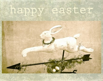 Easter cards, artisan cards, rabbit, bunny, bird nest, bird eggs, faded green, faded pink, rustic, photography