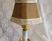 Burlap Fabric with Burlap Trim Candle Light and Chandelier Octagonal Lampshade  5 in D