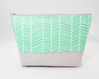 Aqua green makeup bag, chevron cosmetic case, teal chevron zipper pouch, turquoise makeup bag, pencil case with gray accent, project bag