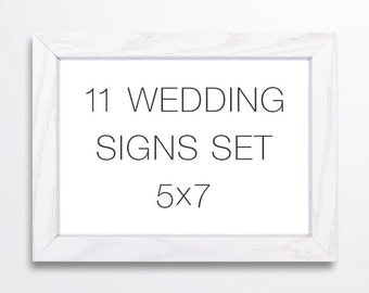Modern Thin Wedding Signs Set -  5x7 Signs - Printable PDF INSTANT DOWNLOAD