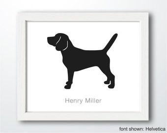 Personalized Hand-Cut Beagle Silhouette with Custom Name (version 2) - Beagle art, modern dog home decor, dog portrait