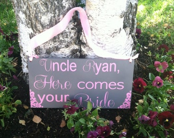 Uncle Here Comes Your Bride - Here Comes the Bride Sign Wedding Signs -- Wedding Signage -- \ Wedding Signs  -- Photo Prop