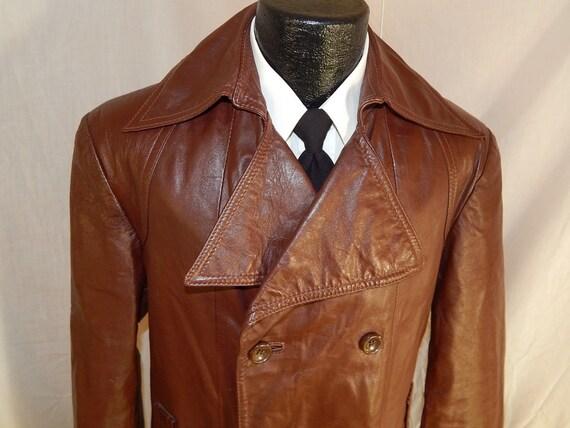 vintage 70 39 s men cowboy western brown leather db long. Black Bedroom Furniture Sets. Home Design Ideas