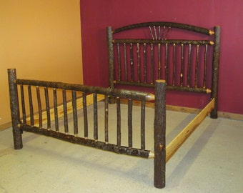 Hickory Log Bed - Arched Wagon Wheel Hickory Log Bed