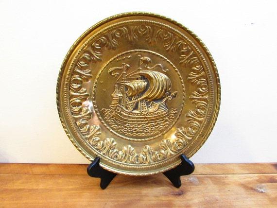 Vintage brass ship tray nautical decor made