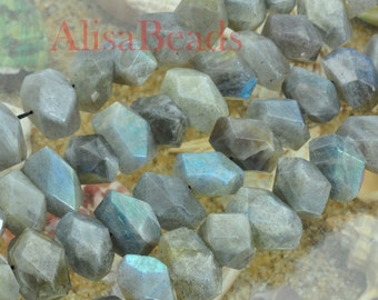 Natural Labradorite,Rough Nugget Chunks,11-14 wide X 16-19mm length,beads,15 inches
