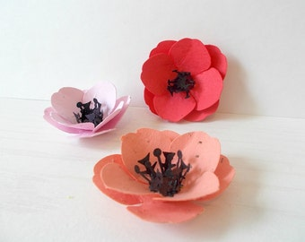100 Plantable Paper Poppies - Seeded Paper Embedded With Flower Seeds - Plant and Grow!