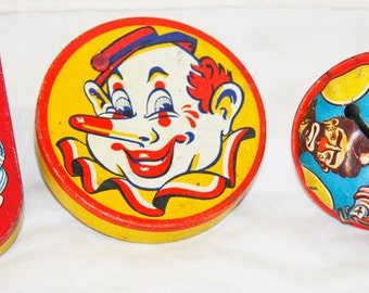 Vintage Antique Children's Toy Noise Makers Circus Spinners Clown
