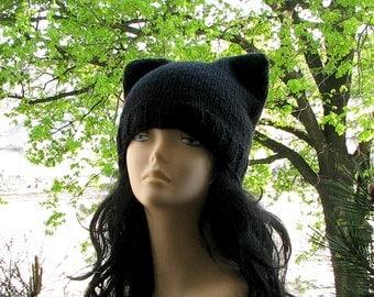 Cat Hat Black Ear Beanie Men Pussyhat Chunky Knit Bonnet  Women Fashion Costumr Halloween