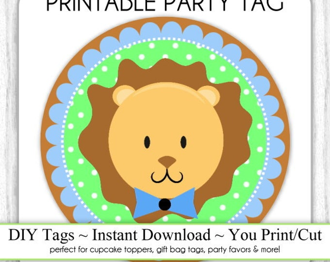 Instant Download - Baby Boy Lion Topper, Baby Shower Printable Party Tag, Jungle Animal Cupcake Topper, DIY, You Print, You Cut