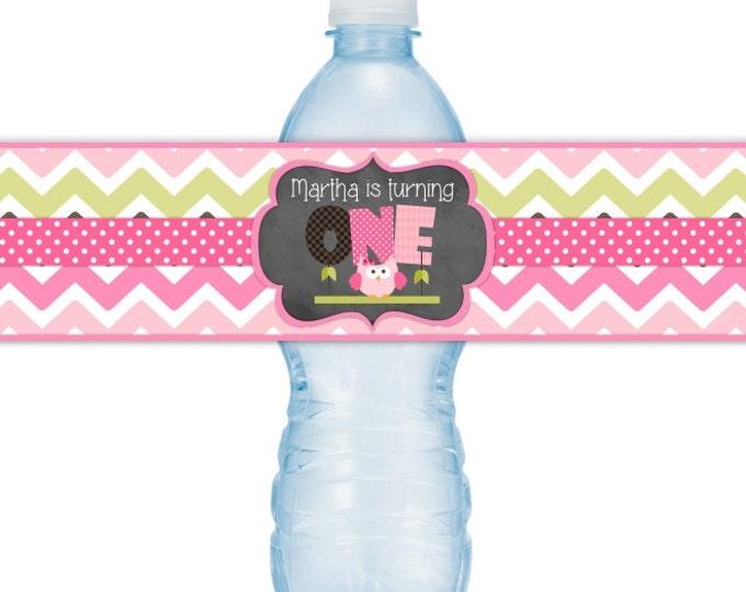 Owl Birthday Water bottle Labels, CUSTOM First BIrthday Water bottle Labels, Owl 1st Birthday you print, DIY water bottle labels