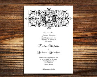 wedding invitations Black and White Traditional invite