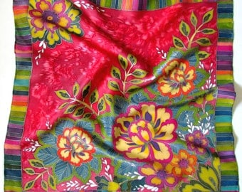 Hand painted silk scarf ' Peony''. Hand painted silk scarf. flower ornate silk scarf . Red silk scarf hand painted.Made to order