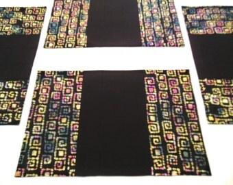 Black Batik Placemats Quilted Fabric Geometric Shapes Multi Colors 4 Mats