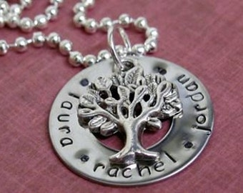 My Family Tree Necklace, Handstamped Jewellery, Personalised, Australian Made