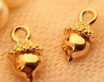 DIY  jewelry 50 pcs antique gold fruit  charm pendant 13×8mm chestnut pendant