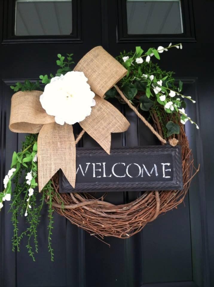 Summer Wreath Welcome Wreath Chalkboard Wreath Burlap