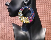 African Fabric Covered Wood Hoop Earring