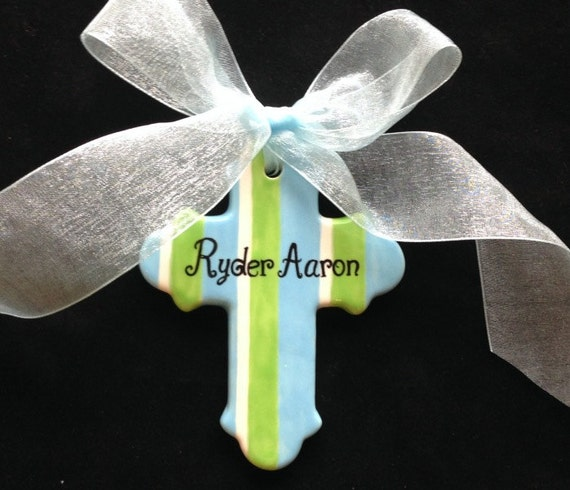 Personalized Baptism Cross Glass Ornament By Specialornaments: Hand Painted Personalized Cross Ornament Baptism