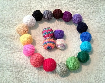 Knitted Ball Cat Toys Set of 3 Pick a Color Optional Bell & Catnip