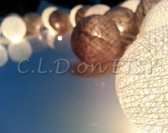White and gray color Cotton Ball Wedding Holiday /Party Decor String Lights 20 Lanterns