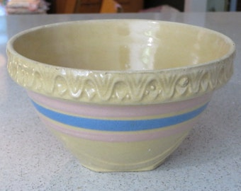 Vintage McCoy pottery pink blue banded stripe pie crest edge yelloware yellow ware kitchen mixing serving bowl