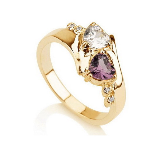Items similar to Promise Ring, Couples Birthstone Ring ...