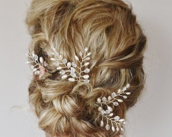 Fern Leaf Pearl Crystal Hair Pins,Fern Leaf Bridal Hair Pins, Wedding Hair Accessories, Bridal Hair Accessories, Ivory Pearl Hair Pins