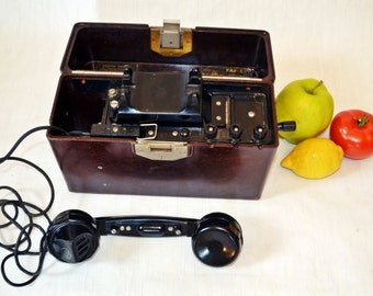 Vintage Military Telephone Black Bakelite phone Soviet Vintage USSR  Industrial Office supply movie requisite Steampunk