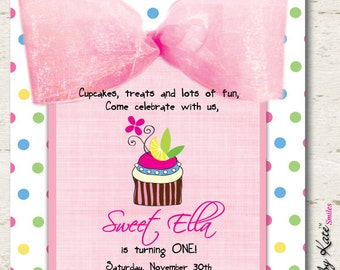 Cupcake Birthday Invitation 1st Birthday Cupcake Invitation